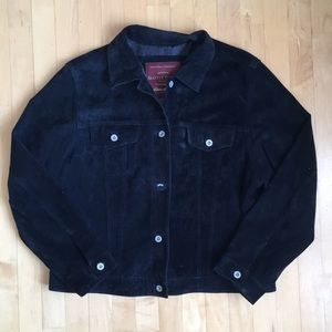 Leather jean jacket XL, Eddie Bauer Seattle Suede